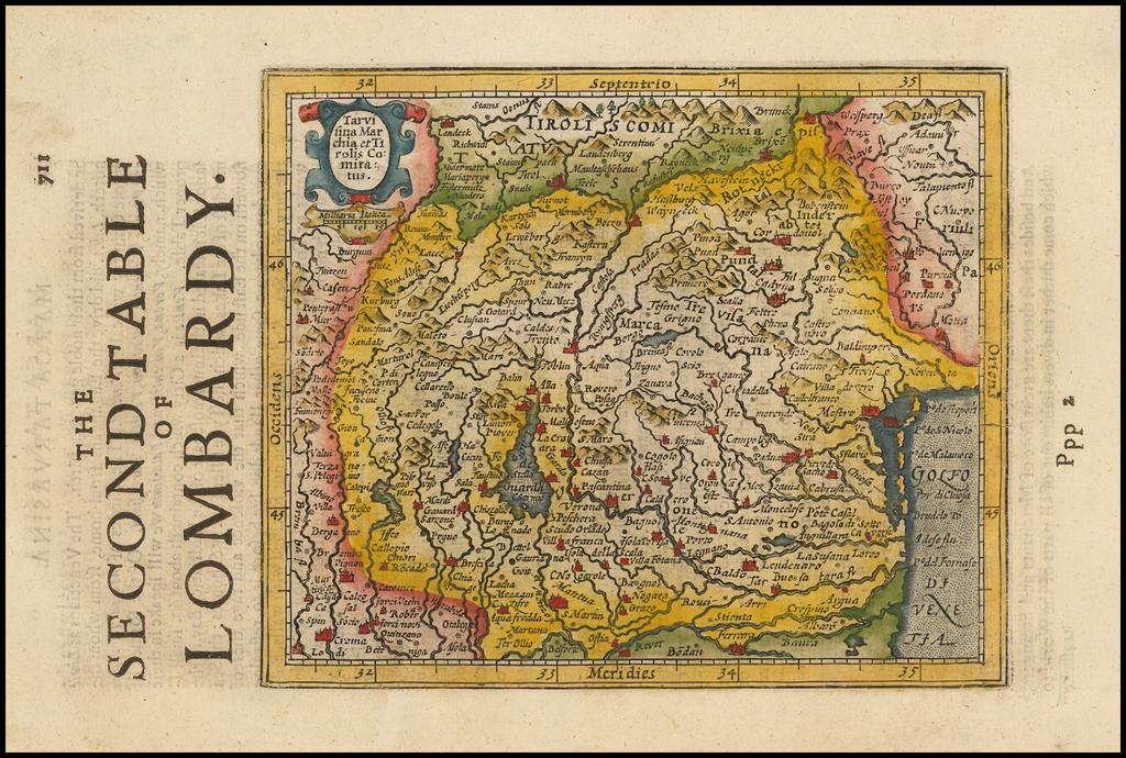 Tarvisina Marchia et Triolis Comitatus [Venice & Lago Di Garda] By Henricus Hondius