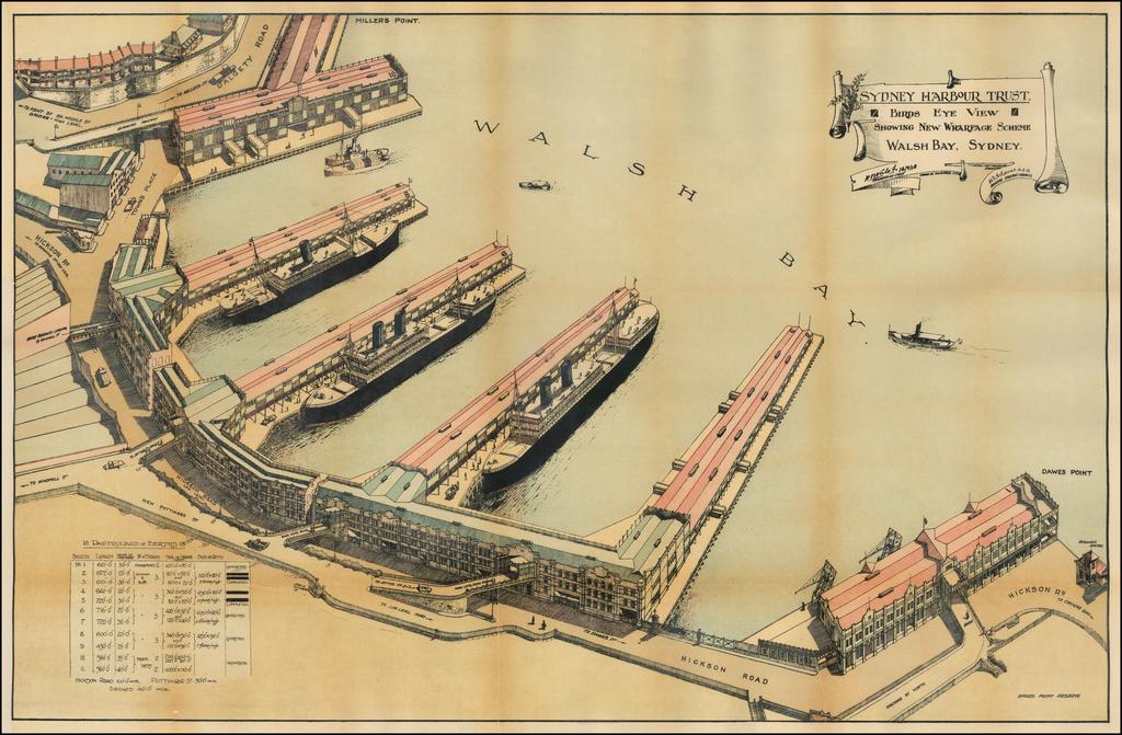 Birds Eye View Showing the New Wharfage Scheme -- Walsh Bay, Sydney By Sydney Harbour Trust