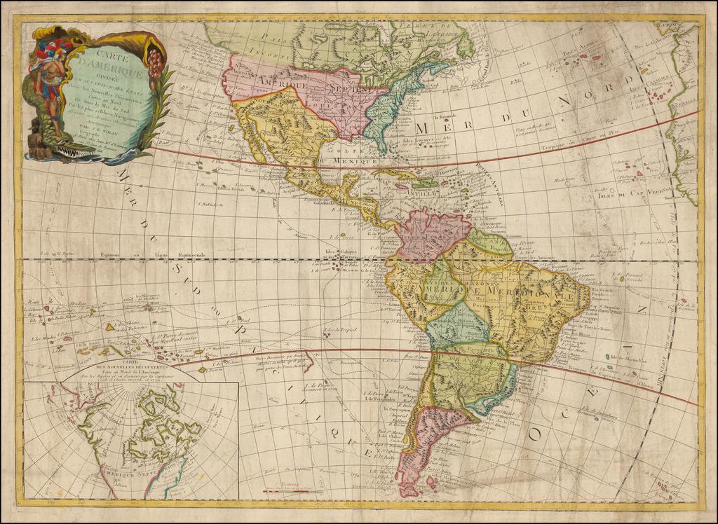 Carte D'Amerique divisee en ses Principaux Etats, Avec les Nouvelles Decouvertes faites au Nord Et dans La Mer du Sud Par les plus celebres Navigateurs . . . 1823 By Jean-Baptiste Nolin