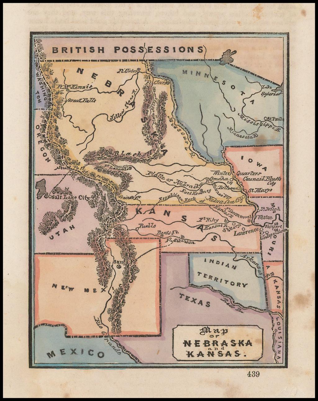 Map of Nebraska and Kansas By Anonymous