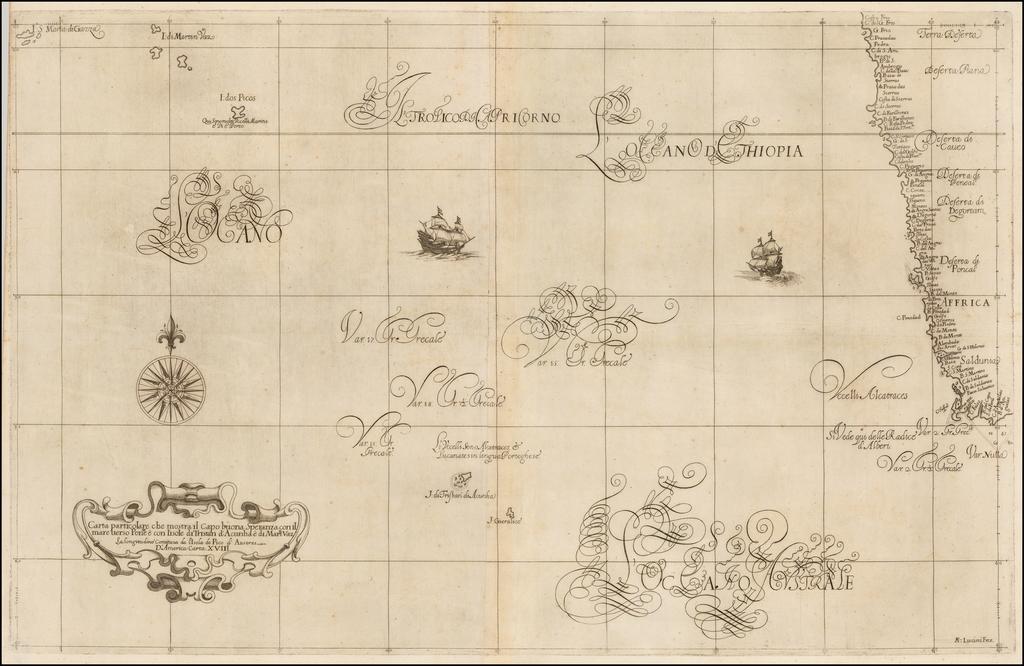 Carta particolare che mostra il Capo buona Speranza con il mare verso Ponte e con l'isole di Tristan d'Acunha e di Martn. Vaz. By Robert Dudley