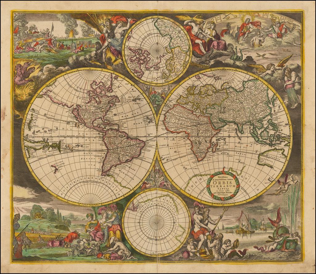 Novissima & exactissima Totius Orbis Terrarum Tabula in lucem edita per Davidem Funcke . . . By David Funcke