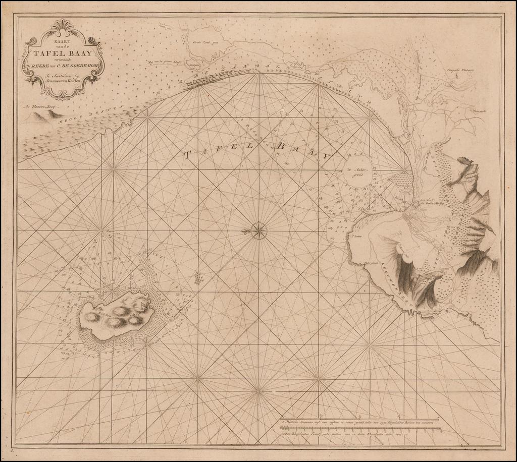 Kaart van de Tafel Baay vertoonende De Reede van C. De Goede Hoop. By Johannes Van Keulen
