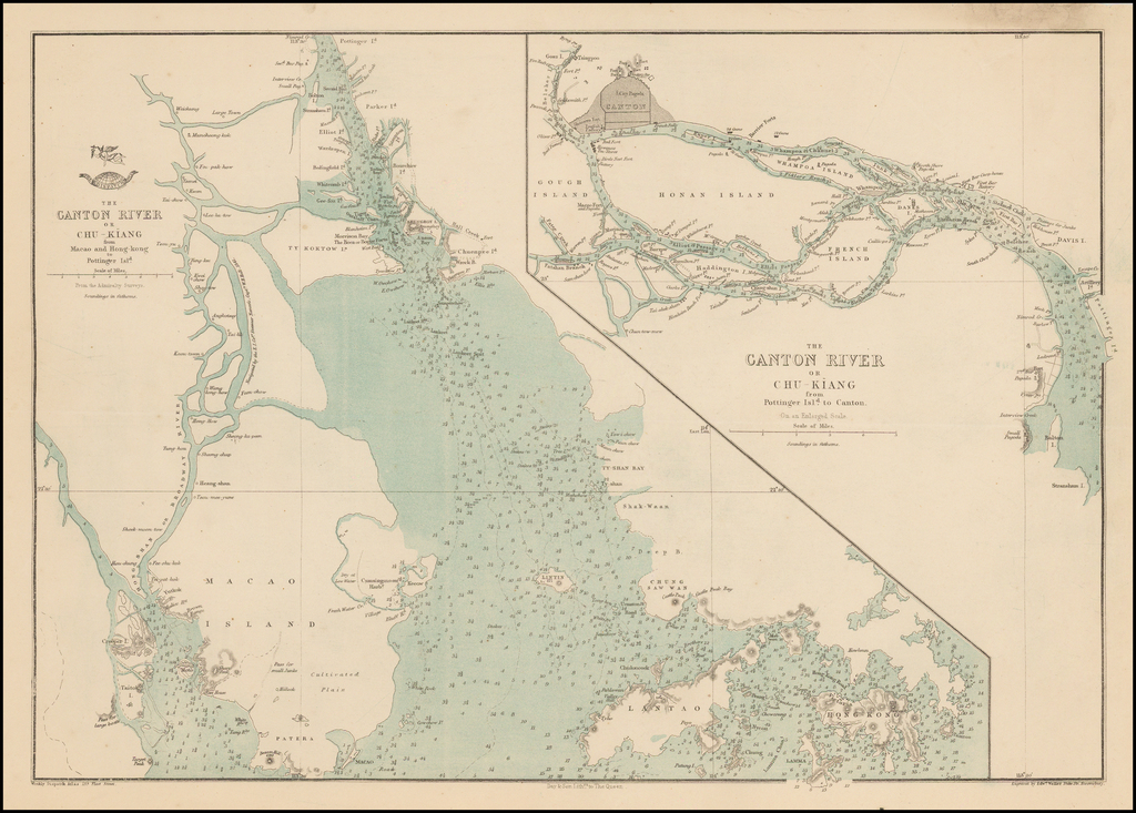 The Canton River or Chu-Kiang from Macao and Hong-Kong to Pottinger Isld. (with) The Canton River of Chu-Kiang from Pottinger Isld. to Canton By Edward Weller