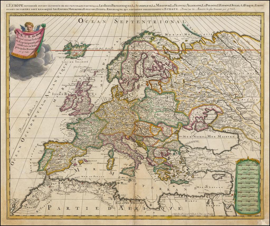 L'Europe divisee suivant l'estendue de ses principaux Estats subdivises en leurs principales Provinces . . .  By Gerard Valk