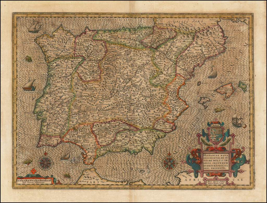 Hispaniae Nova Describtio, De Integro Multis In Locis, Secundum Hydrographicas Desc. Emendata By Henricus Hondius / Petrus Kaerius
