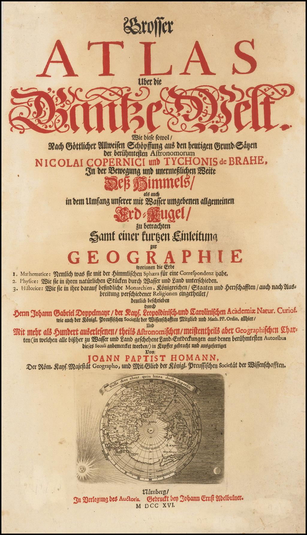 [Title Page] Grosser Atlas . . .  [Northern Hemisphere Map -- California as an Island] By Johann Baptist Homann