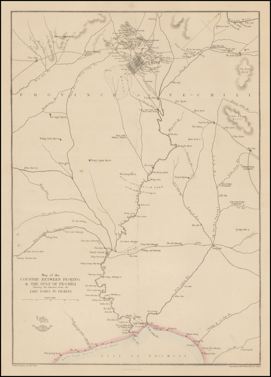 Map of the Country Between Pe-King & The Gulf of Pe-Chini Showing the Advance from the Taku Forts To Pe-King By Edward Weller