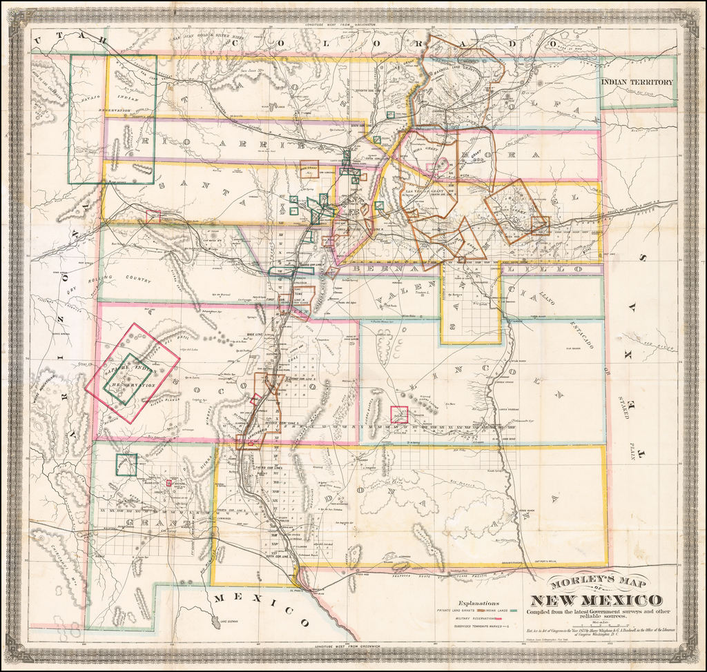 Morley's Map of New Mexico. Compiled from the latest Government surveys and other reliable sources By W.R. Morley