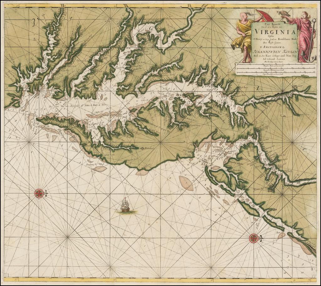 Pas Kaart van de Zee Kusten van Virginia Tusschen C. Henry ent Hooge Land van Renslaars Hoek. . . By Johannes Van Keulen