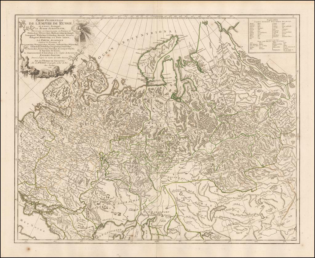 Partie Occidentale De L'Empire De Russie, ou se trouve distinguee La Russie Europeenne,  Divisee par ses Gouvernens ou Province . . . La Partie Asiatique . . . 1750 By Gilles Robert de Vaugondy
