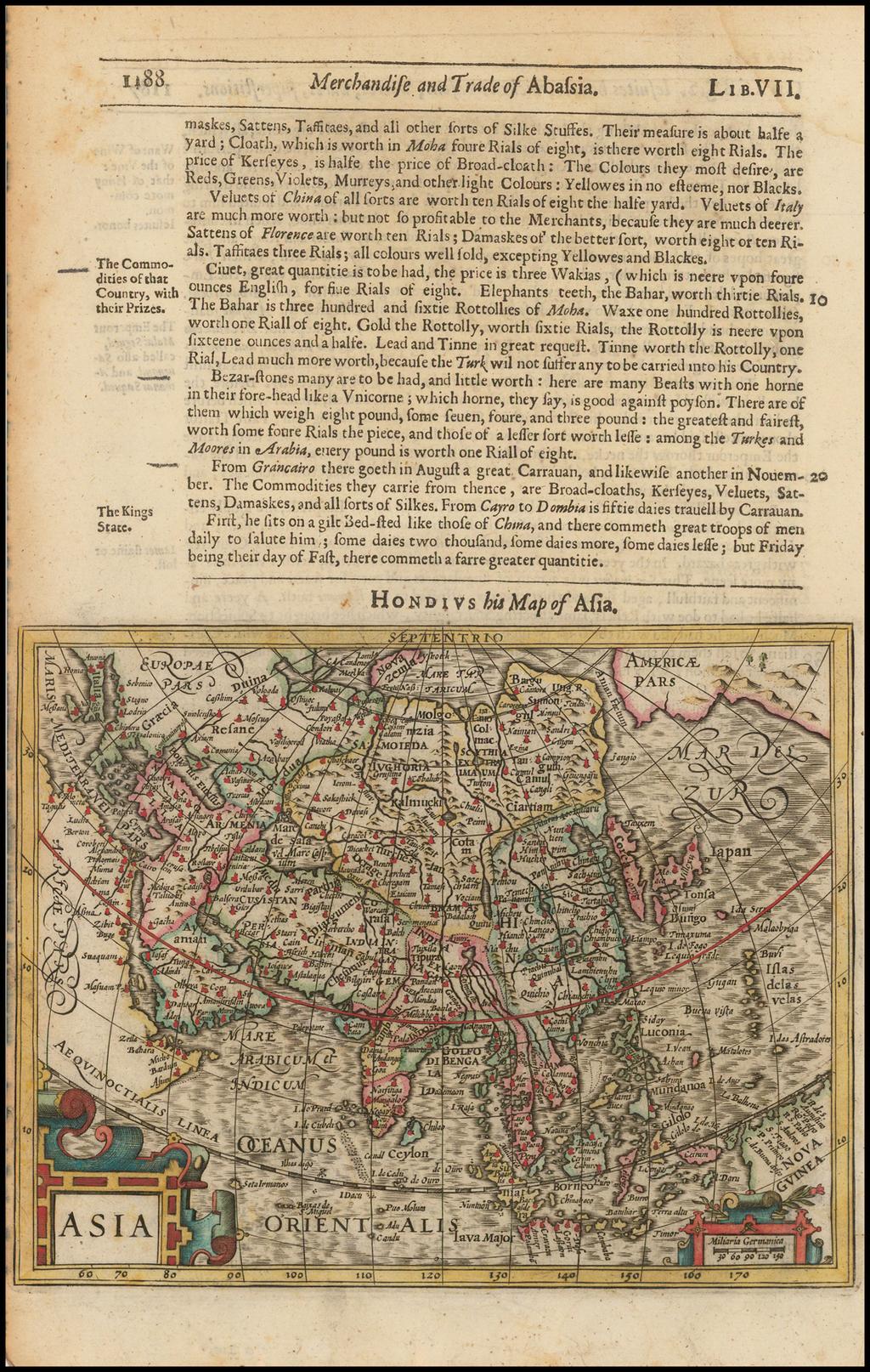 Asia By Jodocus Hondius / Samuel Purchas