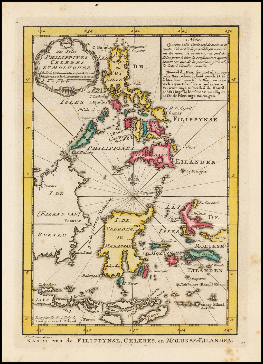 Carte Des Isles Philippines Celebes et Moluques By J.V. Schley