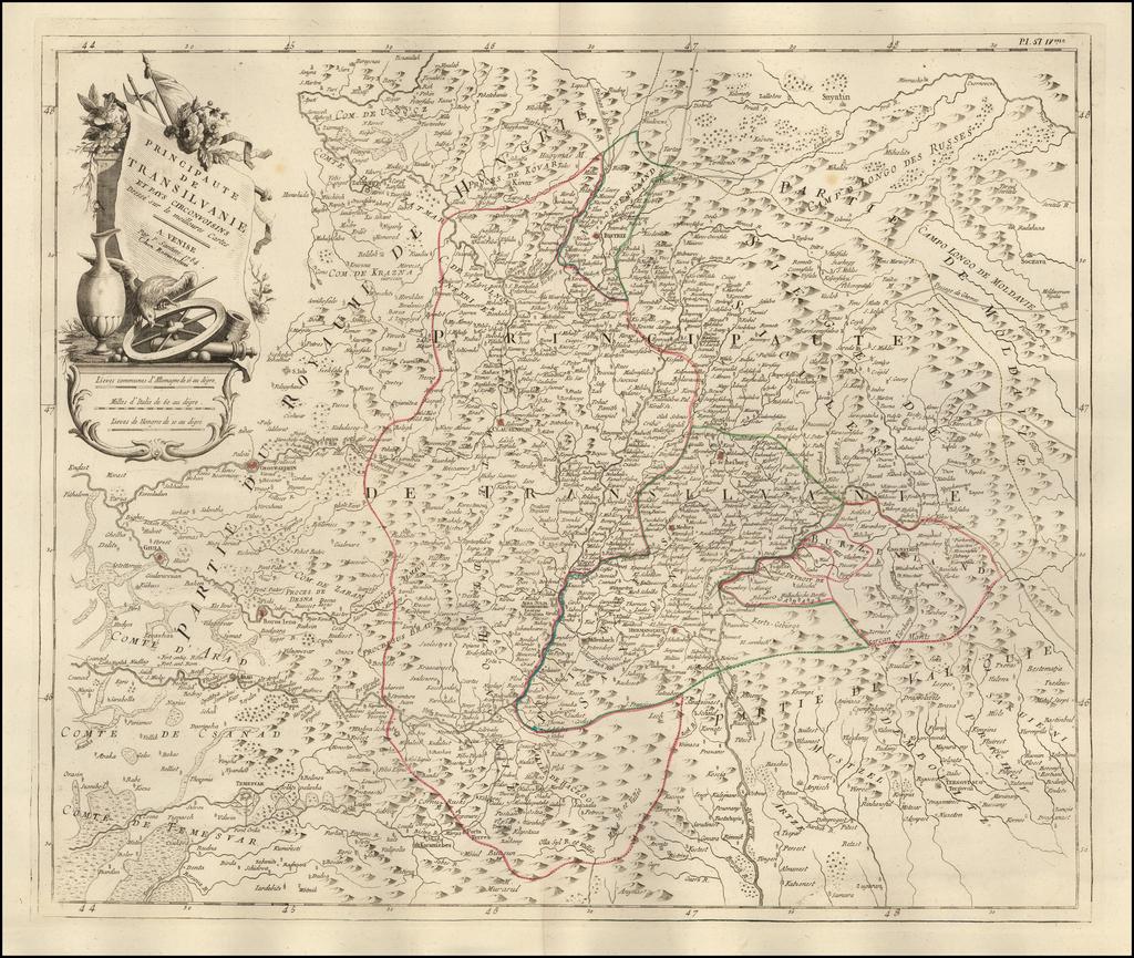 Principaute de Transilvanie et Pays Circonvoisins Dresse sur le meilloures Cartes  By Paolo Santini