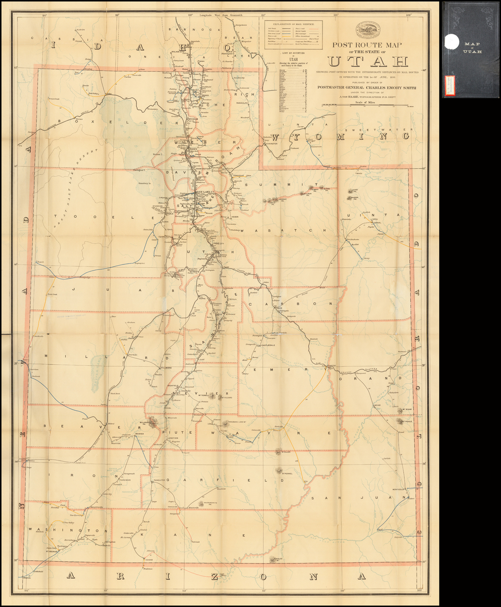Post Route Map of The State of Utah Showing Post Offices With the Intermediate Distances on Mail Routes In Operation On the 1st of June, 1899.  . . .  By U.S. Post Office Department