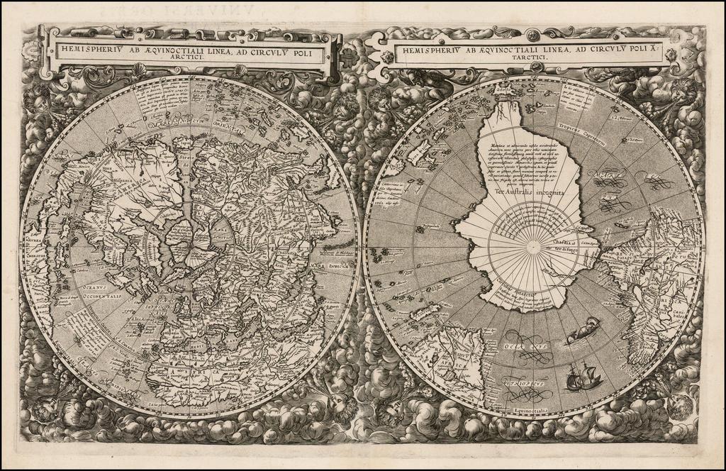 [World] Hemispheriu ab Aequinoctiali Linea, ad Circulu Poli Arctici / Hemispheriu ab Aequinoctiali Linea, ad Circulu Poli Atarctici. By Cornelis de Jode