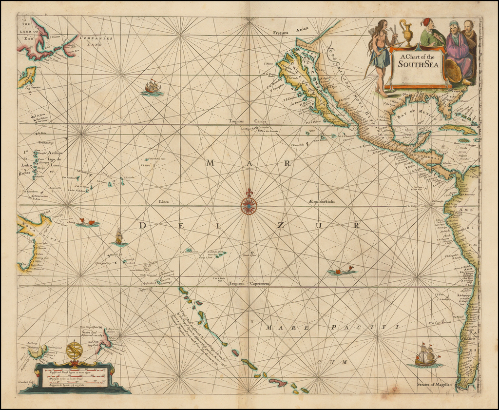 A Chart of the South Sea [1st English Map of the Pacific Ocean] By John Seller