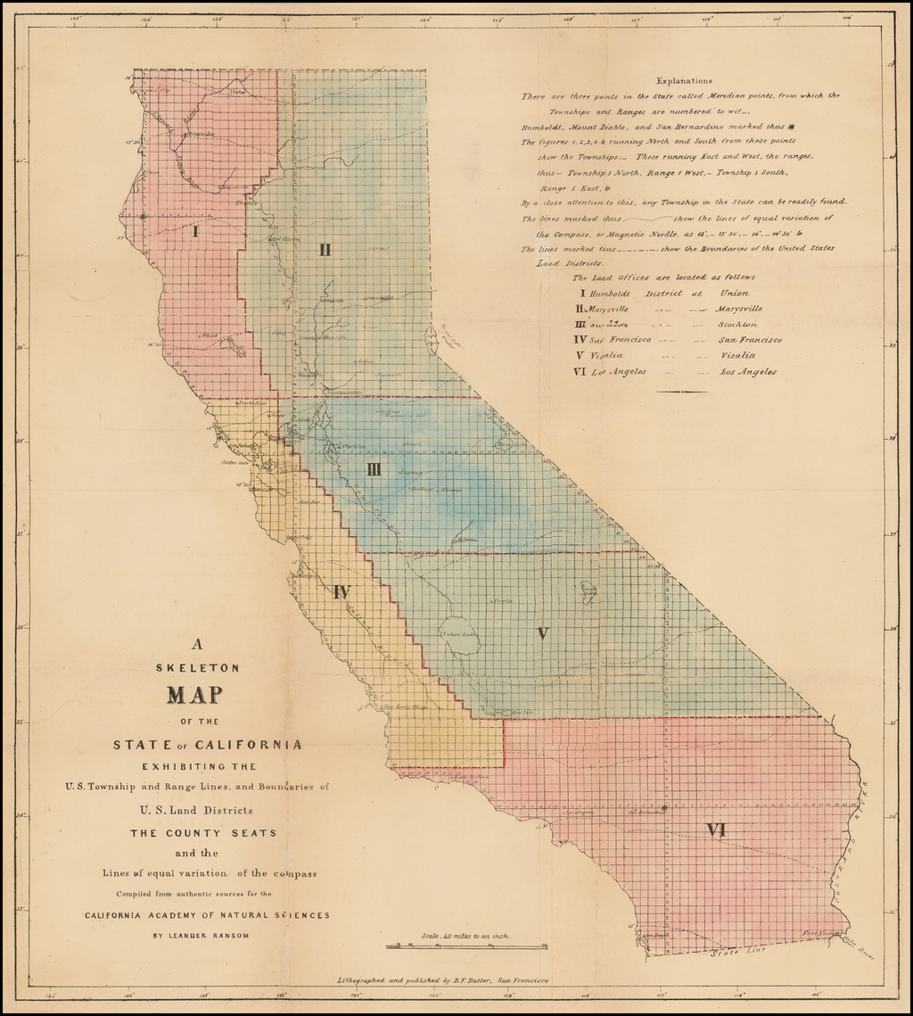 Map Of California Us.A Skeleton Map Of The State Of California Exhibiting The U S