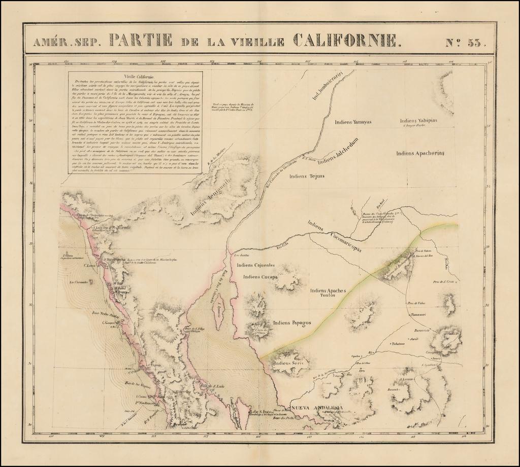 [Southern California, Arizona, Baja & Sonora] Amer. Sep. No. 53  Partie De La Vielle Californie By Philippe Marie Vandermaelen