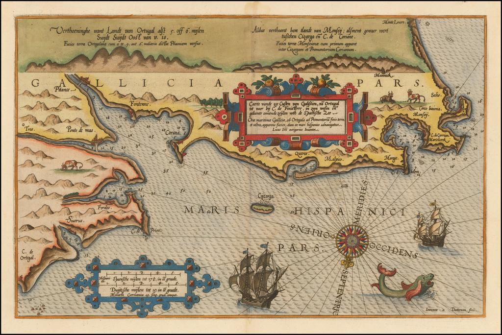 Caerte vande zee Custen van Galissien, va Ortugal tot voer bij C. de Finisterre . . .  en gedaente comende zeijlen … de Spaenshe Zee By Lucas Janszoon Waghenaer