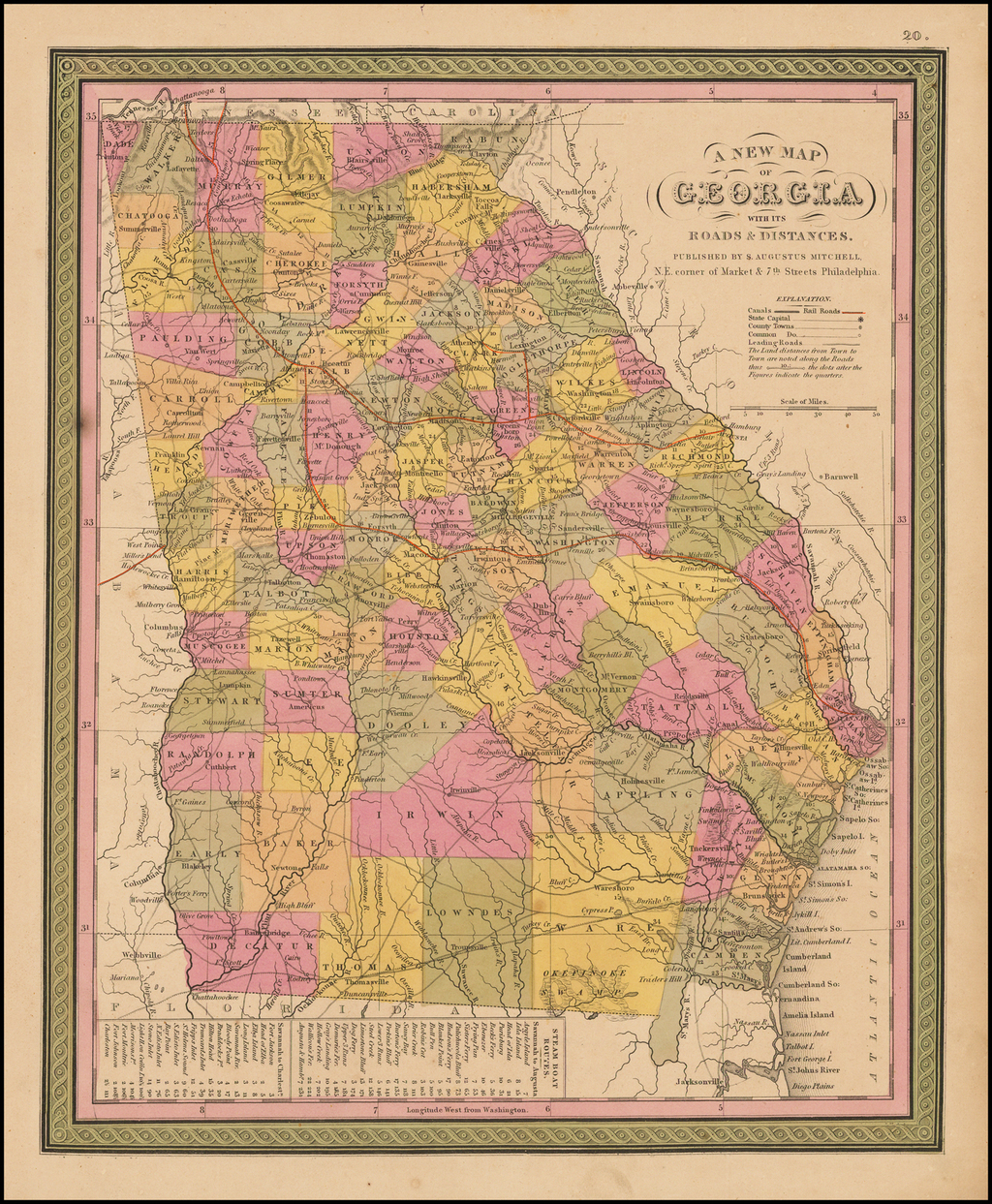 A New Map Of Georgia with its Roads & Distances . . . 1847 By Samuel Augustus Mitchell