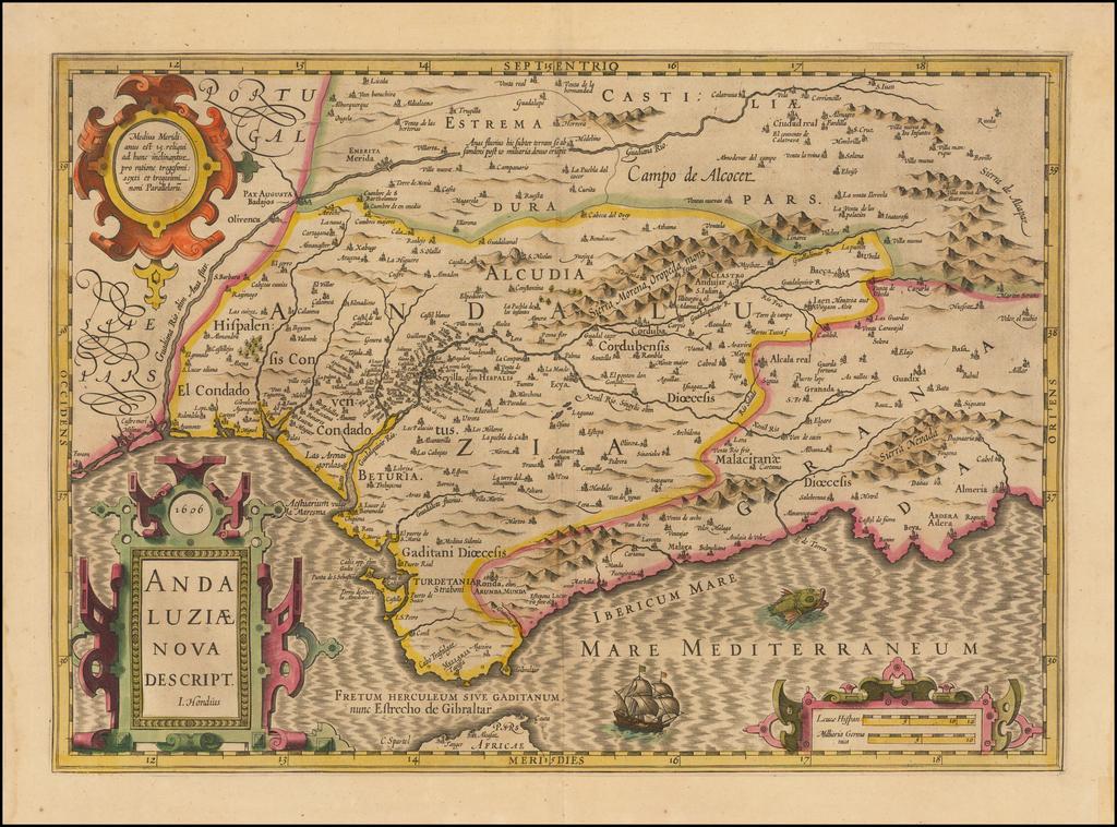 Andaluziae Nova Descript.  1606 By Jodocus Hondius