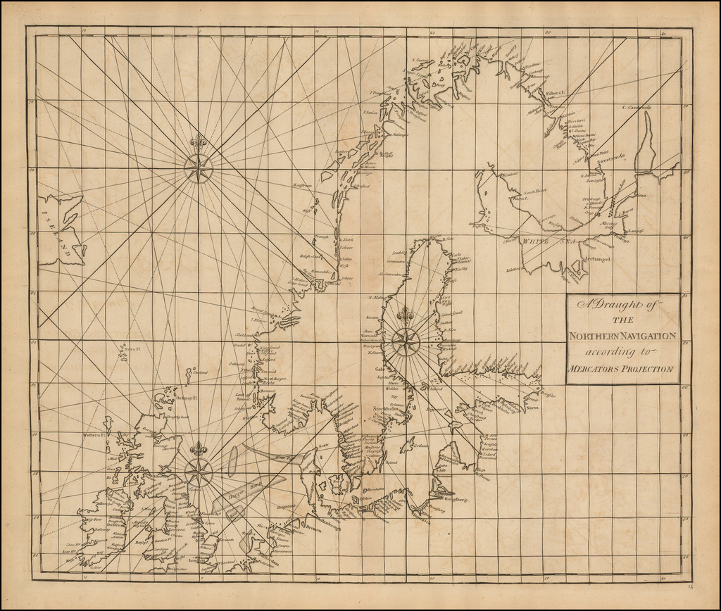 A Draught of the Northern Navigation according to Mercators Projection. By John Senex / Edmund Halley / Nathaniel Cutler