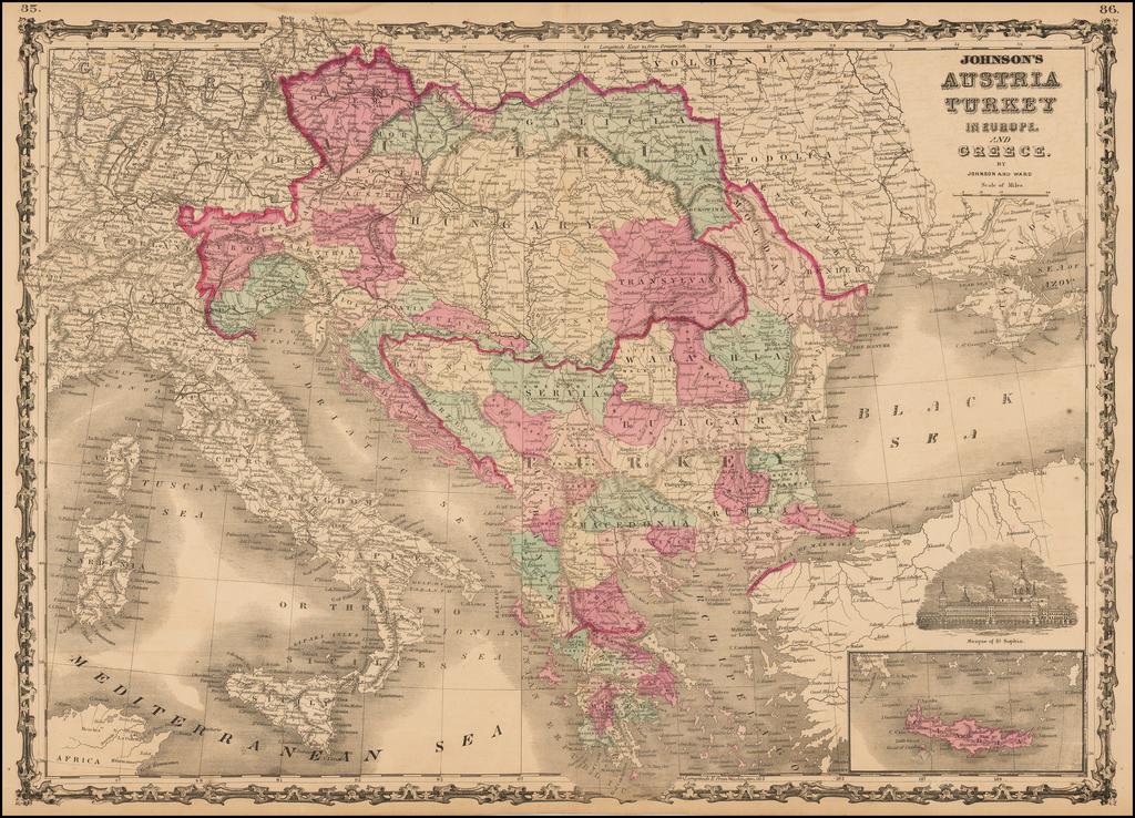 Johnson's Austria Turkey in Europe and Greece By Benjamin P Ward  &  Alvin Jewett Johnson