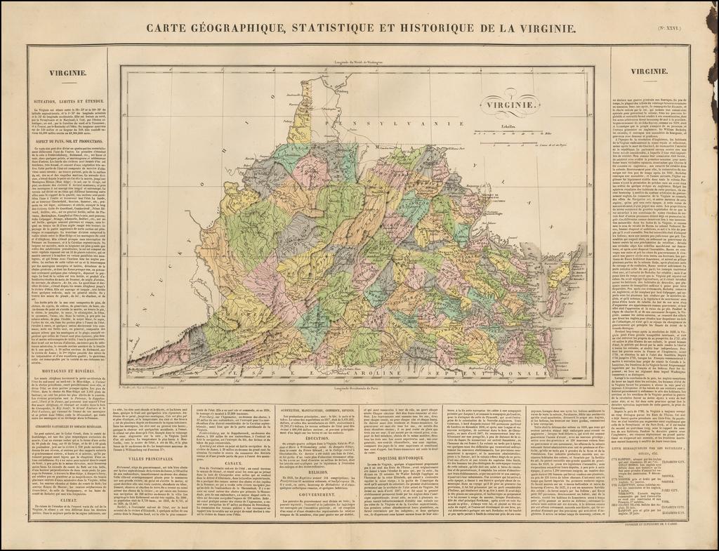 Carte Geographique, Statistique et Historique de la Virginie By Jean Alexandre Buchon
