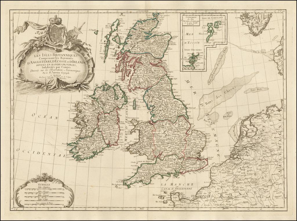 Les Isles Britanniques Comprenant les Royaumes D'Angleterre, D'Ecosse et Irlande, Divises en Grandes Provinces, Subdivises par Comtes . . .  By Paolo Santini