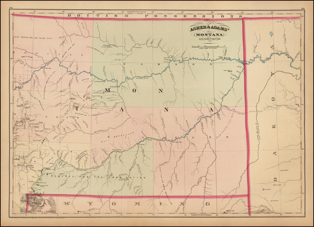 Asher & Adams' Montana.  Eastern Portion By Asher  &  Adams