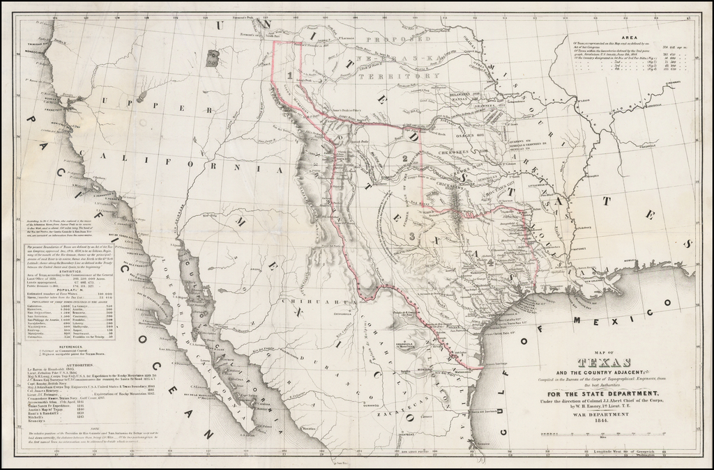 Map of Texas and the Country Adjacent Compiled in the Bureau of the Corps of Topographical Engineers from the Best Authorities . . . 1844 By William Hemsley Emory