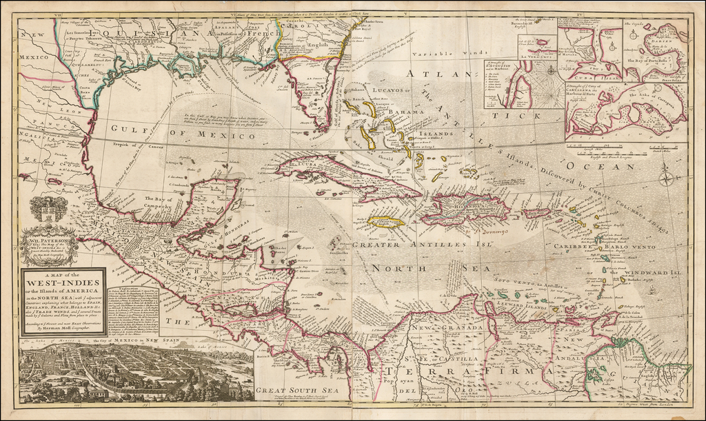 A Map of the West-Indies or the Islands of America in the North Sea; with ye adjacent Countries; explaining what belongs to Spain, England, France, Holland &c . . .  By Hermann Moll