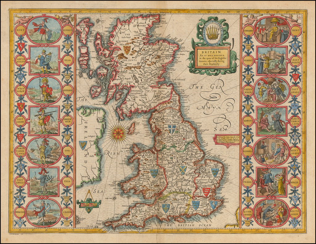 Britain As It Was Devided in the tyme of the Englishe-Saxons especially during their Heptarchy By John Speed