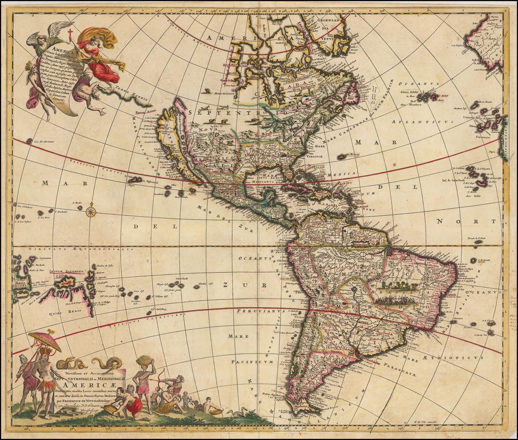 Novissima et Accuratissima Septentrionalis ac Meridionalis Americae Descriptio . . . By Frederick De Wit
