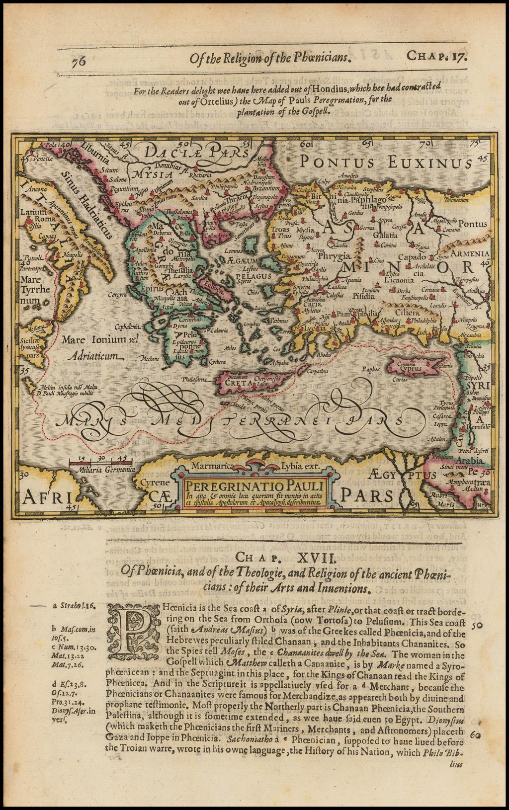 Peregrinatio Pauli In qua & omnia quorum fit mentio in actis et epistolis Apostolorum et Apocalysi describuntur  (shows Cyprus) By Jodocus Hondius / Samuel Purchas
