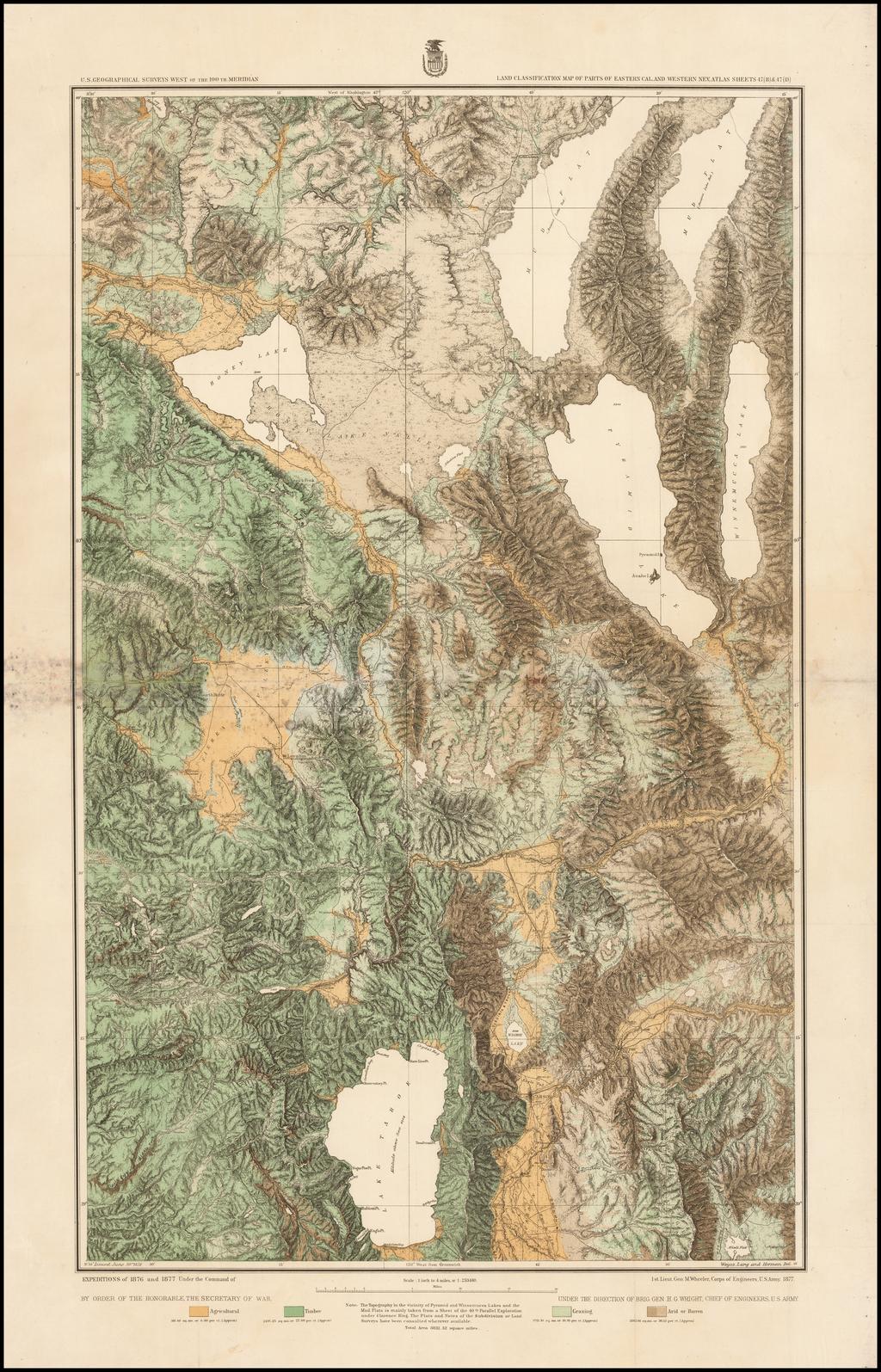 Land Classification Map of Parts of Eastern California and Western Nevada . . .  [Lake Tahoe, Reno, Carson, Astor Pass, Honey Lake & Pyramid Lake] By George M. Wheeler