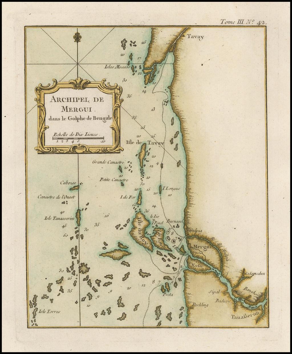 Archipel de Mergui dans le Golphe de Bengale By Jacques Nicolas Bellin