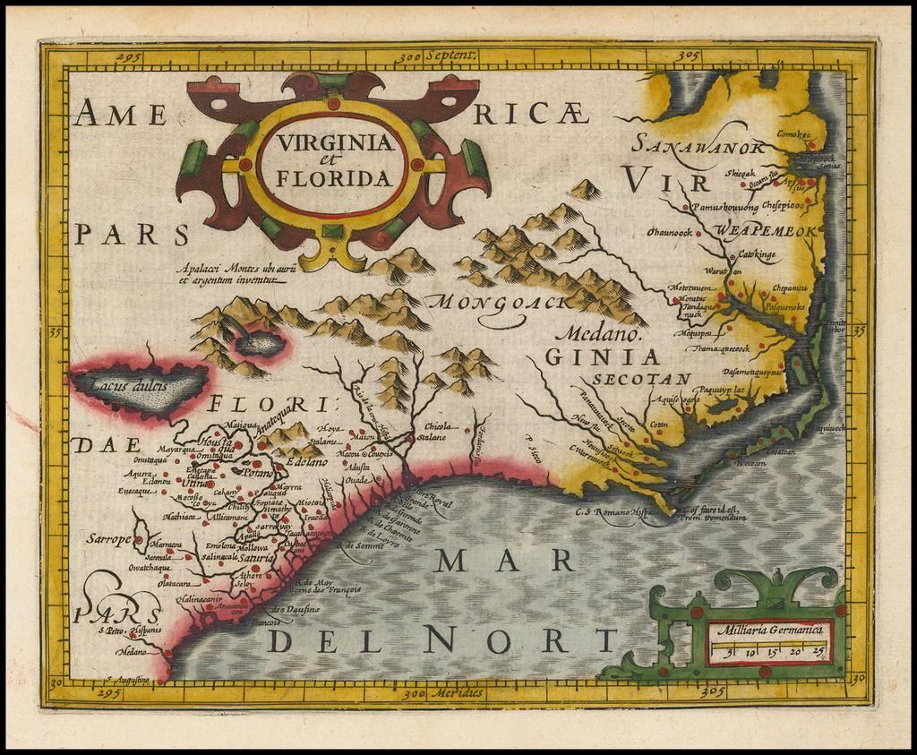 Virginia et Florida By Gerhard Mercator
