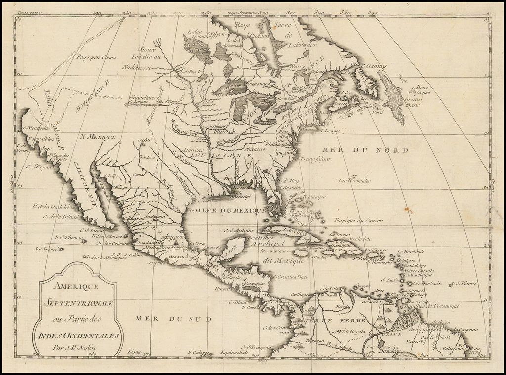 Amerique Septentrionale ou Partie des Indes Occidentales . . .  By Jean-Baptiste Nolin