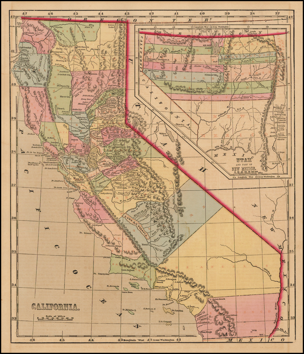 California [with large inset of Utah and Part of New Mexico] By Charles Morse
