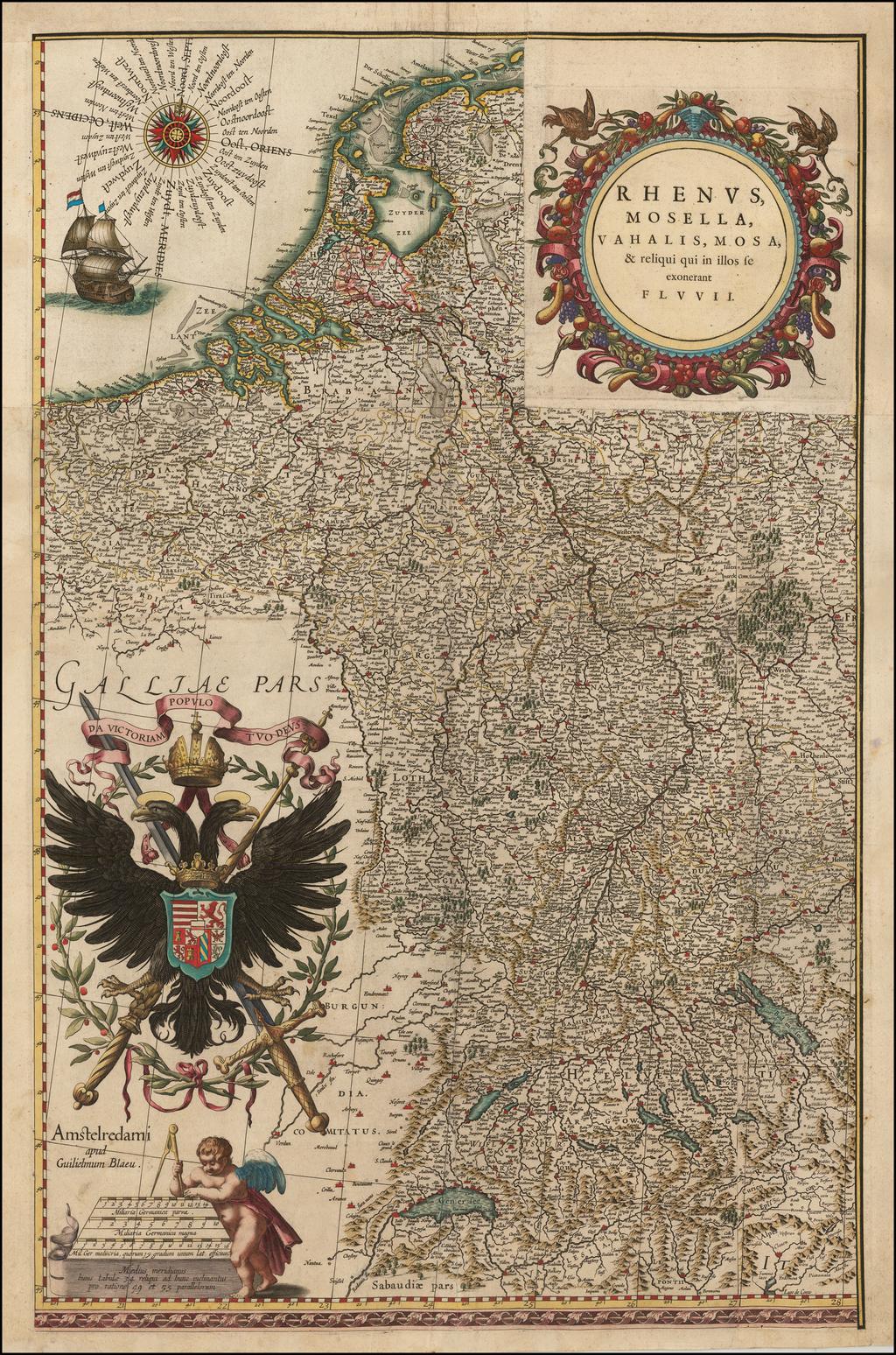 Rhenus, Mosella, Vahalis, Mosa & reliqui qui se exonerant fluvii By Willem Janszoon Blaeu
