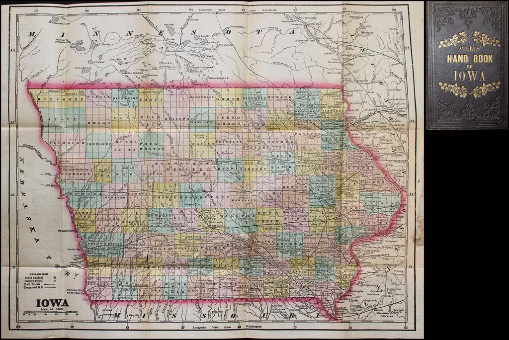 Iowa -- Wells Hand Book of Iowa By J. G.  Wells