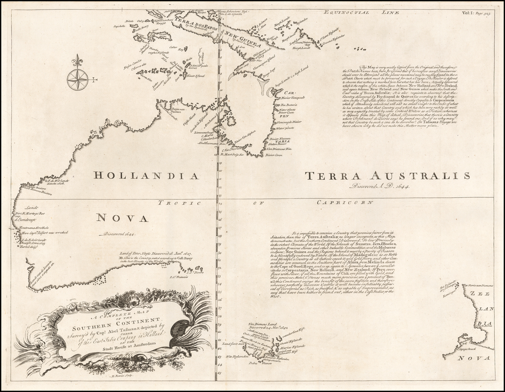 [Australia] A Complete Map of the Southern Continent Survey'd by Capt. Abel Tasman & depicted by Order of the East Indian Company in Holland In The Stadt House at Amsterdam By Emanuel Bowen