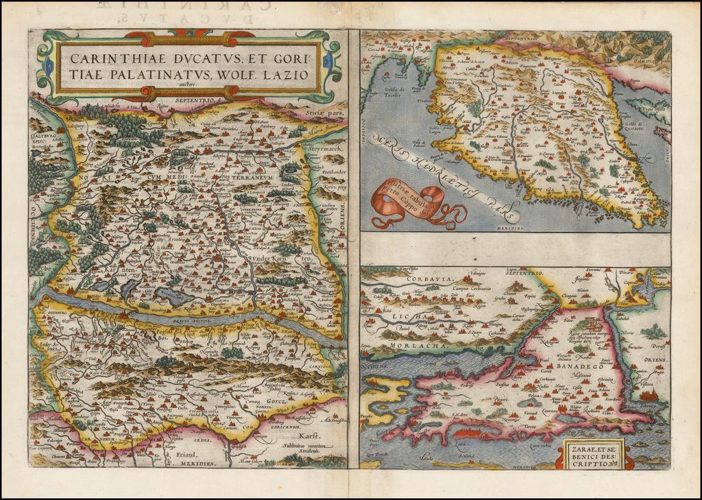 Carinthiae Ducatus, Et Goritiae Palatinatus, Wolf. Lazio [with] Histriae tabua a Petro Copolo deferi. [with] Zarae, et Sebenici Descriptio By Abraham Ortelius