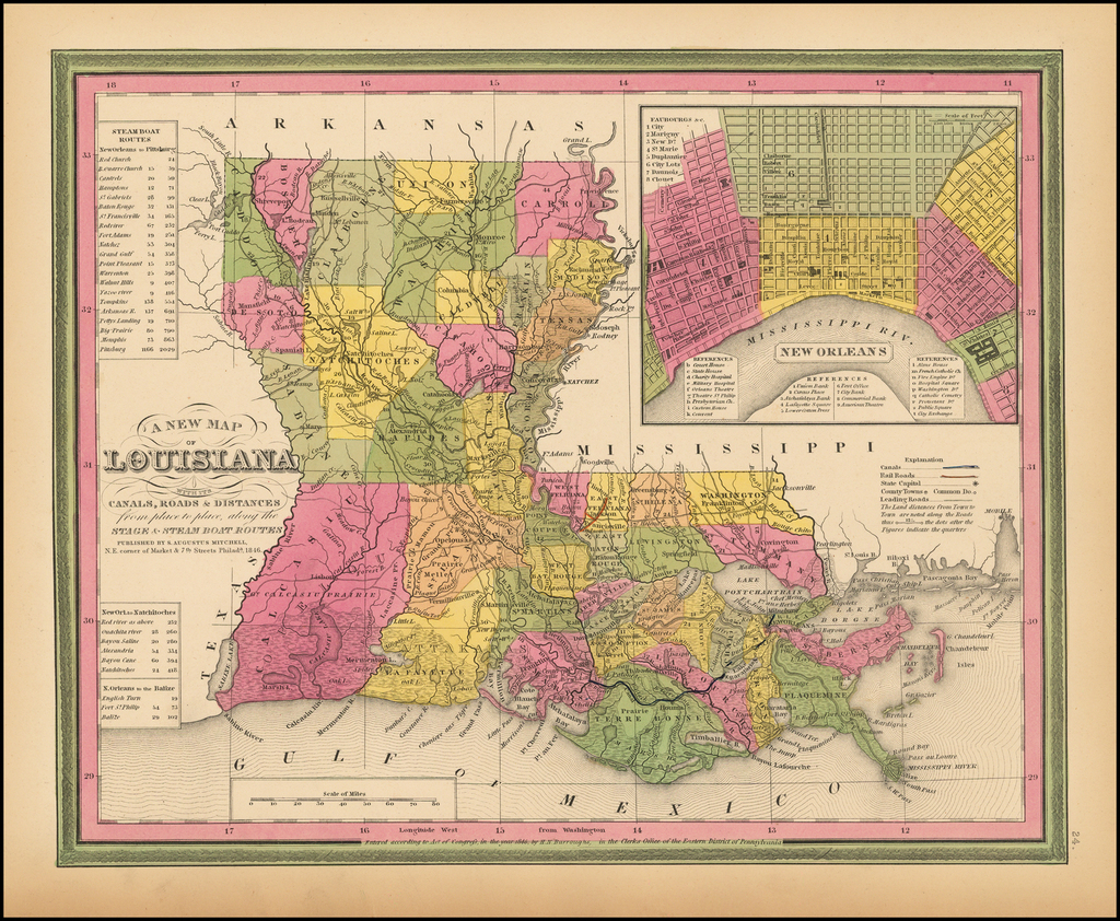 A New Map Of Louisiana with its Canals, Roads, Distances from Place to Place, along the Stage & Steam Boat Routes . . . By Samuel Augustus Mitchell