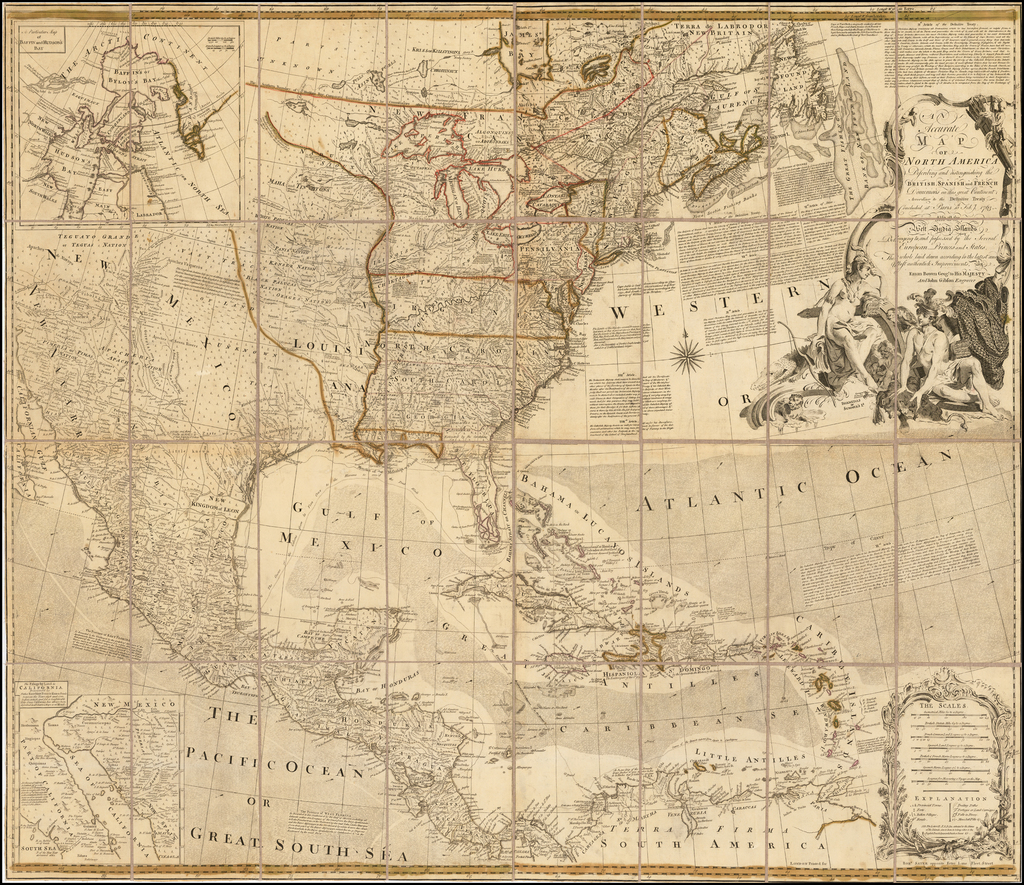 An Accurate Map of North America, Describing and Distinguishing The British, Spanish and French Dominions on this great Continent:  According toThe Definitive Treaty Concluded At Paris 10th Feby. 1763.  . . .  By John Gibson  &  Emanuel Bowen