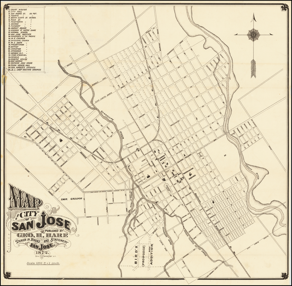 Map of the City of San Jose Published By Geo. H. Hare Dealer in Books and Stationery  San Jose, 1872  (bound with Hare's Guide To San Jose and Vicinity For Tourists and New Settlers . . . ) By George H.  Hare