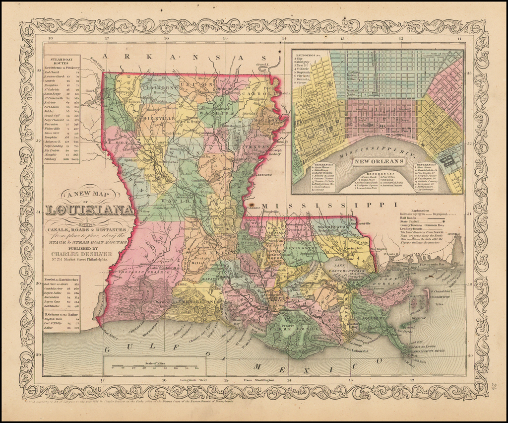 A New Map Of Louisiana with its Canals, Roads, Distances from Place to Place, along the Stage & Steam Boat Routes… By Charles Desilver