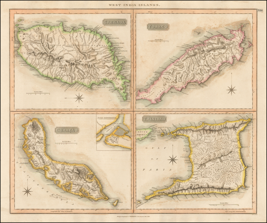 West India Islands  [Curacao, Trinidad, Grenada and Tobago] [4 maps on 1 sheet] By John Thomson